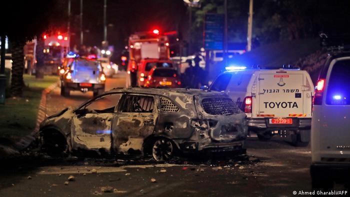 Спалена автівка у місті Лод, 11 травня