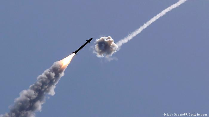Israel's Iron Dome aerial defence system intercepts a rocket launched from the Gaza Strip