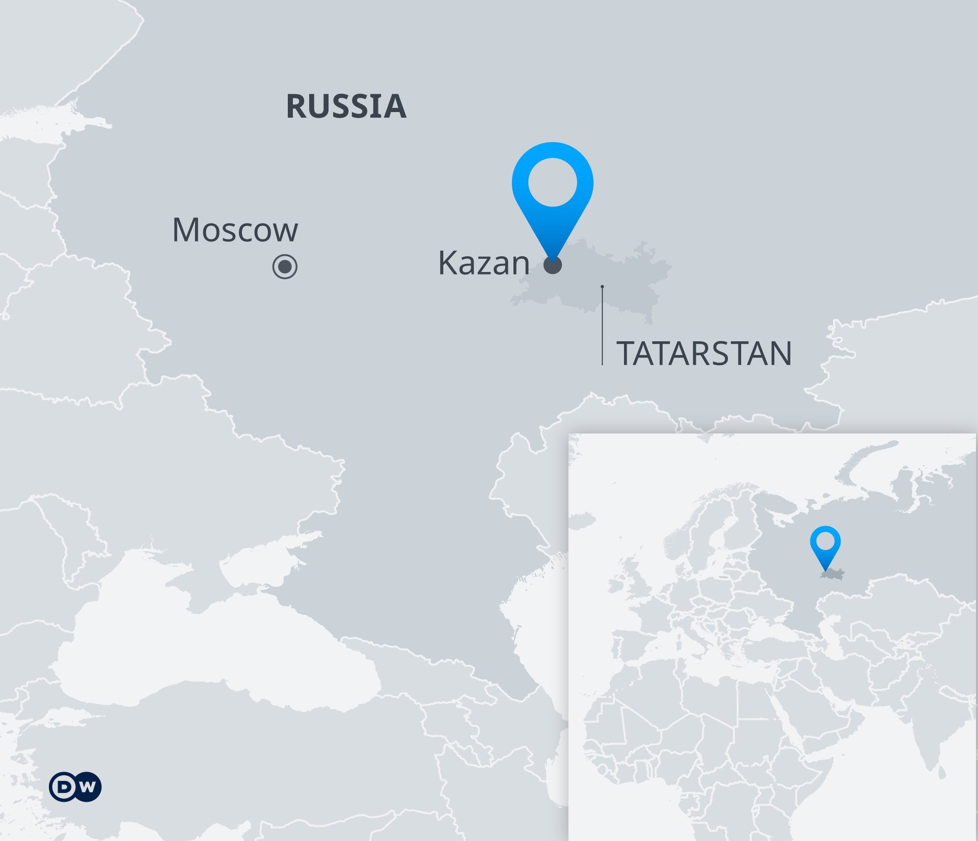 Map indicating location of Kazan in Russia