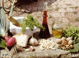 Italian olive oil, bread, nuts and herbs