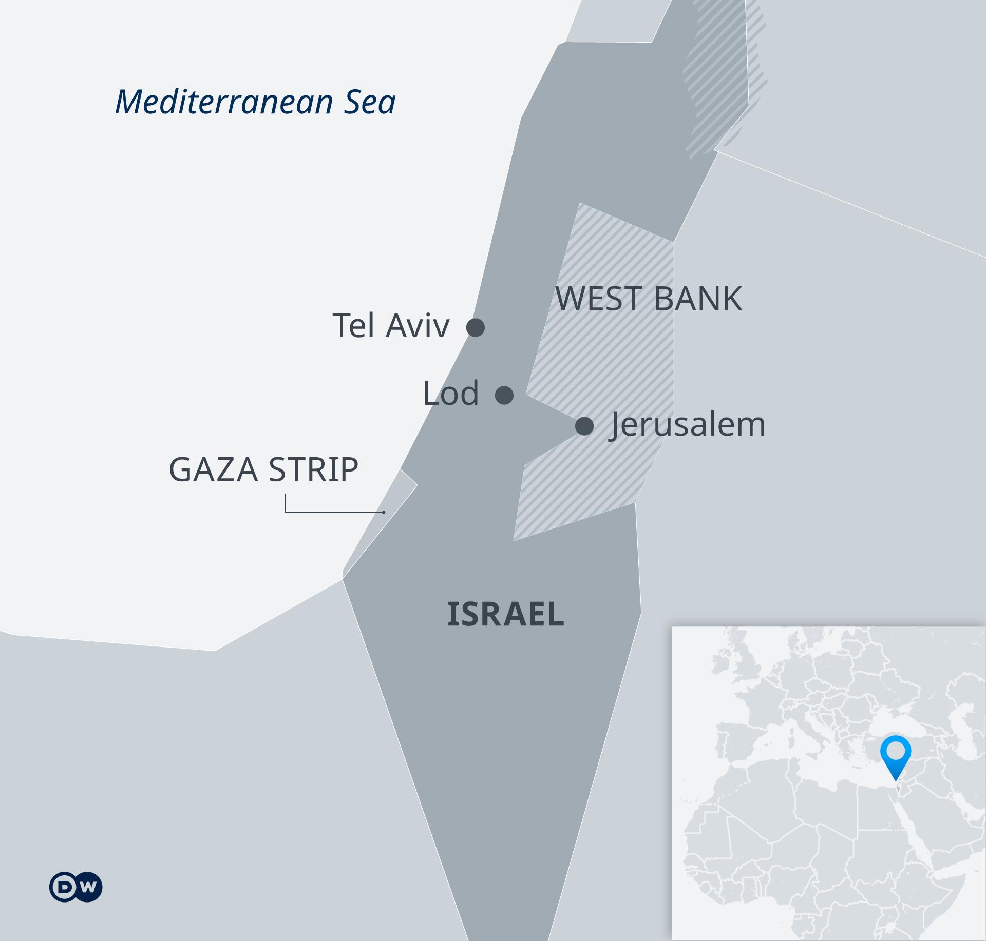 Karte Israel Gaza Strip West Bank EN