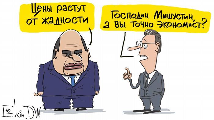 Мишустин объясняет рост цен на продовольствие жадностью - карикатура Сергея Елкина