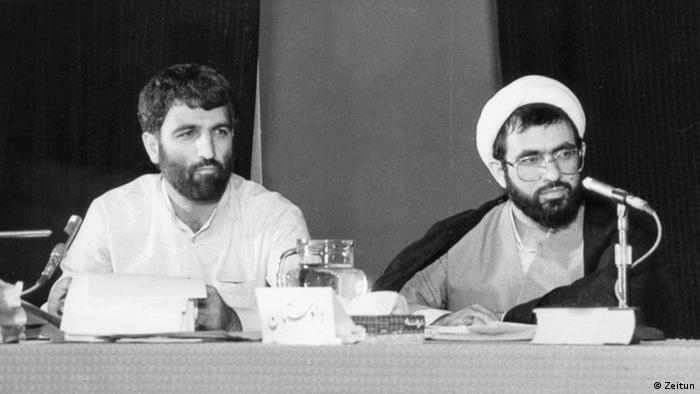 علی فلاحیان و محسنی اژهای (سمت چپ) در دادگاه سیدمهدی هاشمی در سال ۶۶
