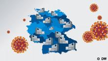 A map of Germany with health offices, surrounded by coronavirus visualizations
