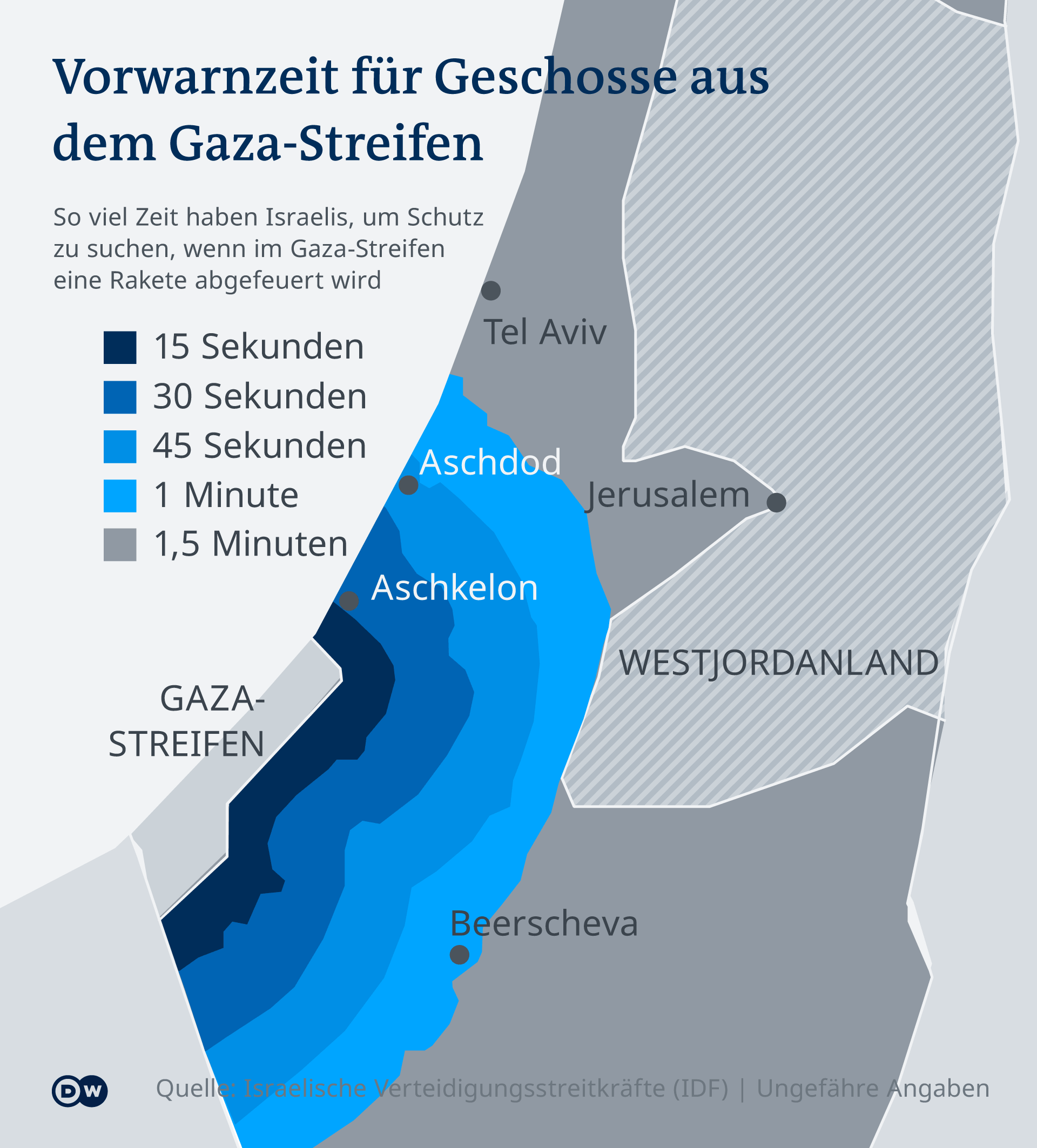 Infografik Karte Vorwarnzeit Rakete aus Gaza-Streifen DE
