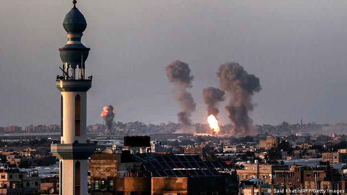 Smoke rising after Israeli airstrikes in Khan Yunis in Gaza