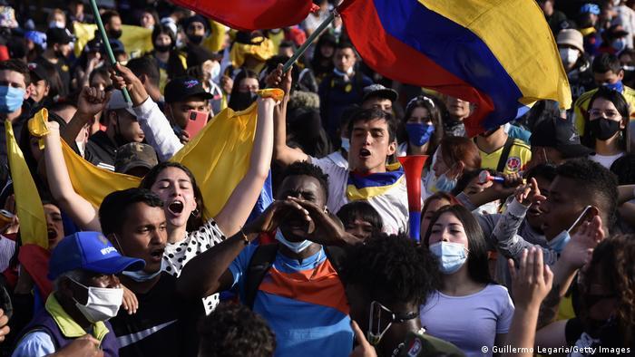 Protestas en Bogotá, Colombia, contra la desigualdad económica y las medidas del Gobierno de Iván Duque.