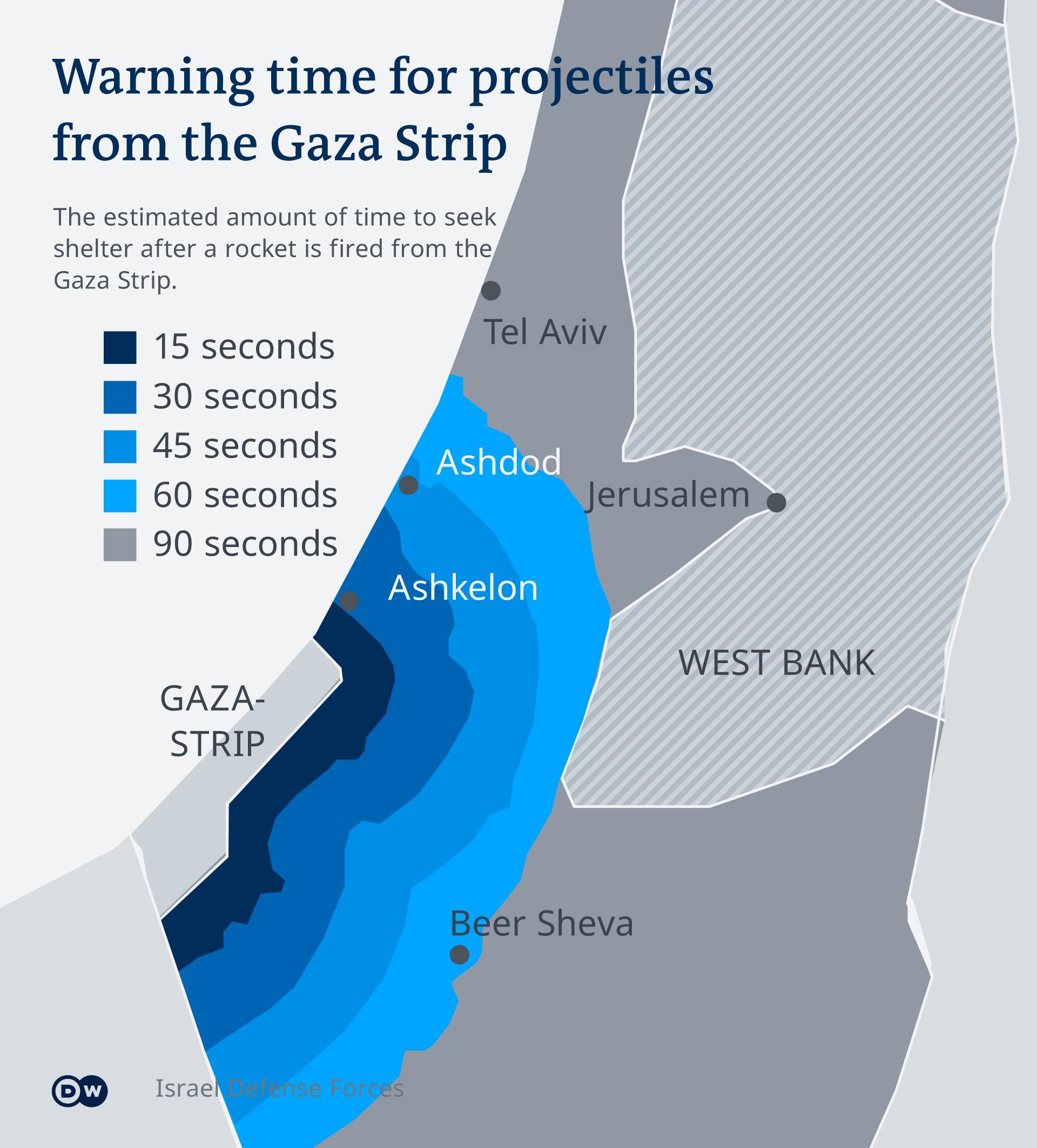 Infografik Karte Vorwarnzeit Rakete aus Gaza-Streifen EN