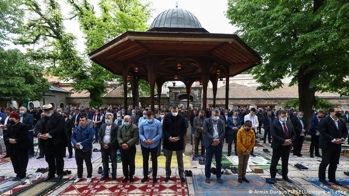Muslims gather to pray together in Sarajevo, Bosnia and Herzegovina