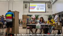 Colombians residing in South Florida exercise their right to vote during the second round of the presidential elections on Sunday, June 17, 2018 at Miami Dade College - Wolfson Campus. (Sam Navarro/Miami Herald/TNS) Photo via Newscom picture alliance