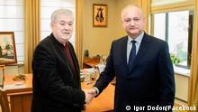 Vertreter der Sozialisten und Kommunisten in der Republik Moldau: Igor Dodon und Vladimir Voronin, deren Parteien nun zusammen bei den vorgezogenen Wahlen im Sommer antreten wollen. via Medana Weident/BN/DWD, 13.05.2021
