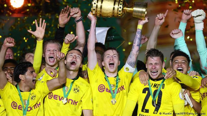 Marco Reus celebrates the German Cup win