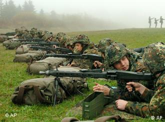 Soldiers firing guns in training