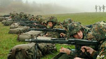 Soldiers shooting on a training range
