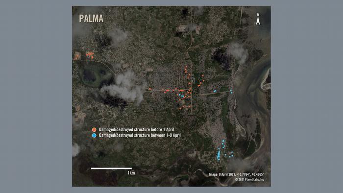 Satellitenfoto Mosambik Palma