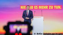 Christian Lindner on stage at May's party conference