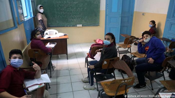 Students take a class at a school in Beirut, Lebanon.
