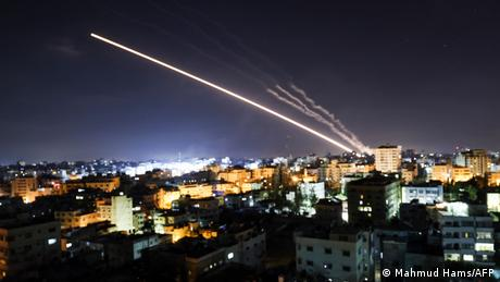Rockets are launched from Gaza City towards Israel early on May 15, 2021