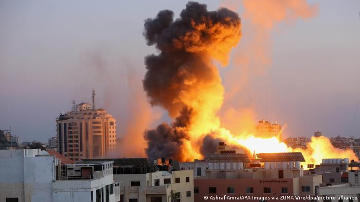 An Israeli missile strikes a building in Gaza