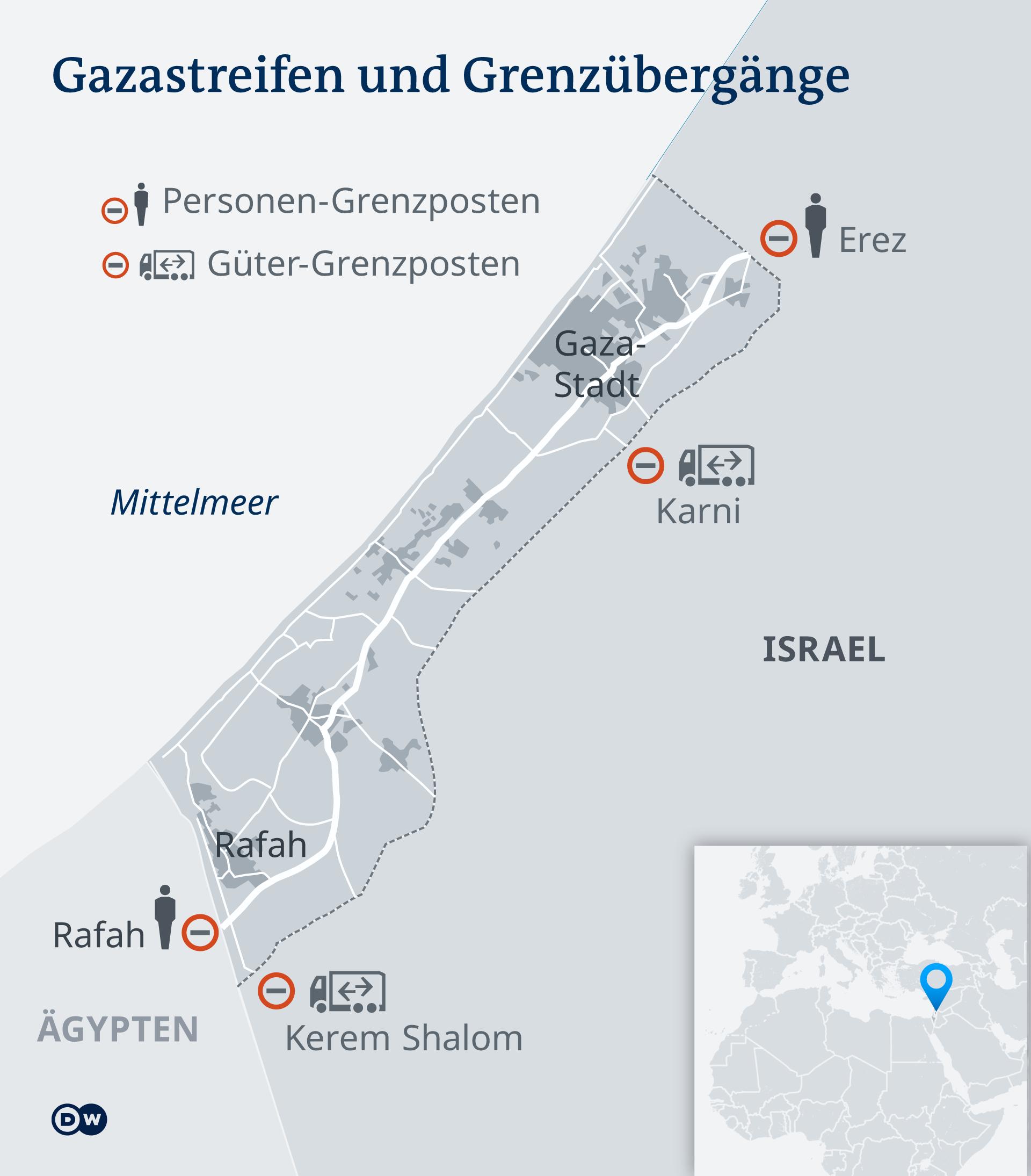 Infografik Karte Gazastreifen DE