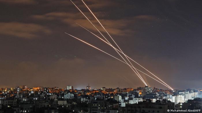 Ракеты, выпущенные из города Газа по Израилю в ночь на 16 мая