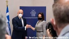 Griechenland Swetlana Tikhanowskaja mit dem griechischen Ausßenminister Nikos Dendias