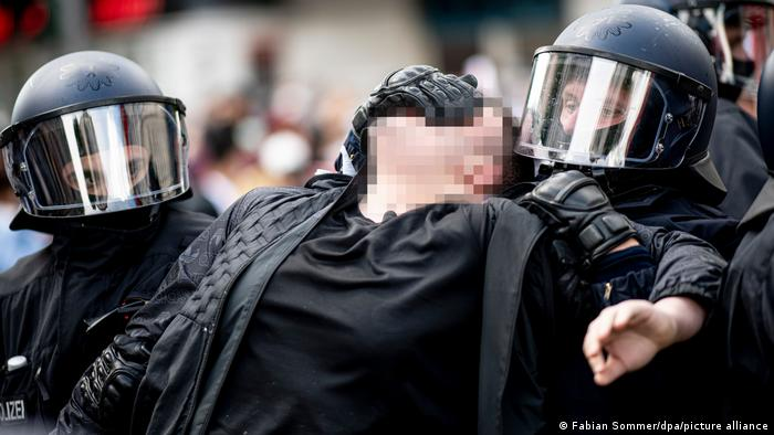 Clashes between police and protesters at a Berlin demonstration on May 15.