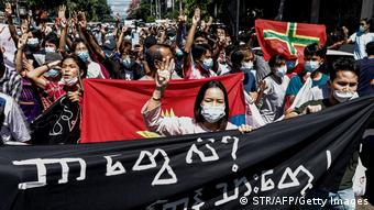 Myanmar I Erneute Proteste gegen Militär Coup in Yangon