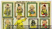 Das undatierte Handout zeigt die Comicfigur Yellow Kid aus den USA und ihre internationalen Geschwister. Beim Yellow Kid stand der Text zunächst nicht in einer Sprechblase. Er war auf sein gelbes Nachthemd gedruckt. Foto: Denis Kitchen Art Agency ACHTUNG: Nur für Bezieher des Dienstes dpa-Nachrichten für Kinder. Das Handout darf nur einmalig im Zusammenhang mit dem Themenpaket über das Yellow Kid und nur bei Nennung der Bildquelle mit dem Beisatz Yellow Kid image courtesy Denis Kitchen Art Agency archives www.deniskitchen.com verwendet werden. +++(c) dpa - Nachrichten für Kinder+++