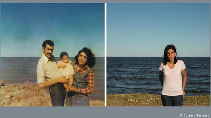 A split image by Argentinian photographer Gustavo Germano: a family of three at the beach, and a woman alone at a similar beach.