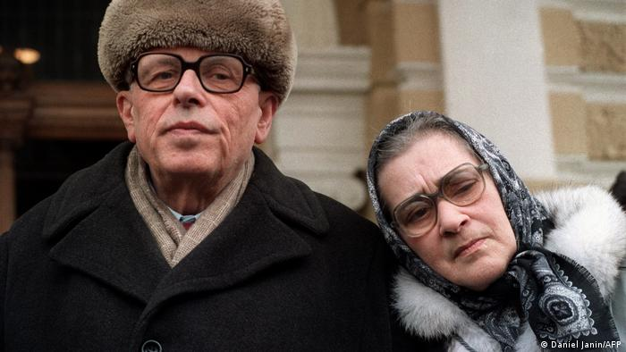 Andrei Sakharov and his wife Yelena Bonner pictured 31 March 1987 in Moscow