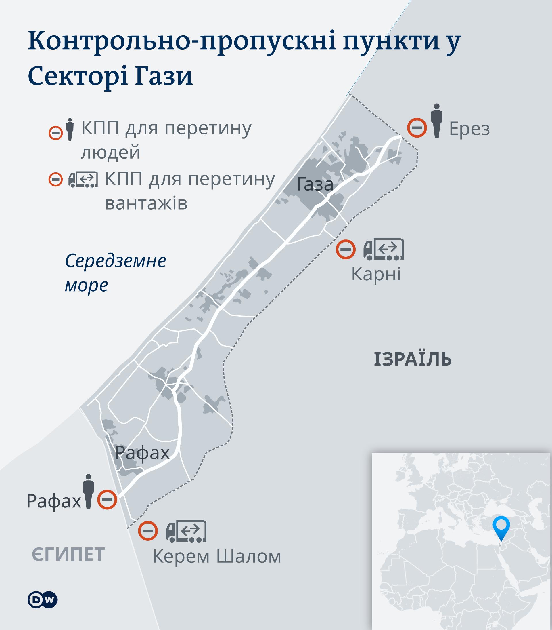 Карта: контрольно-пропускні пункти на кордоні Сектора Гази з Ізраїлем та Єгиптом