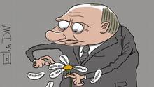 Karikatur von Sergey Elkin Russland Liste von unfreundlichen Staaten veröffentlicht