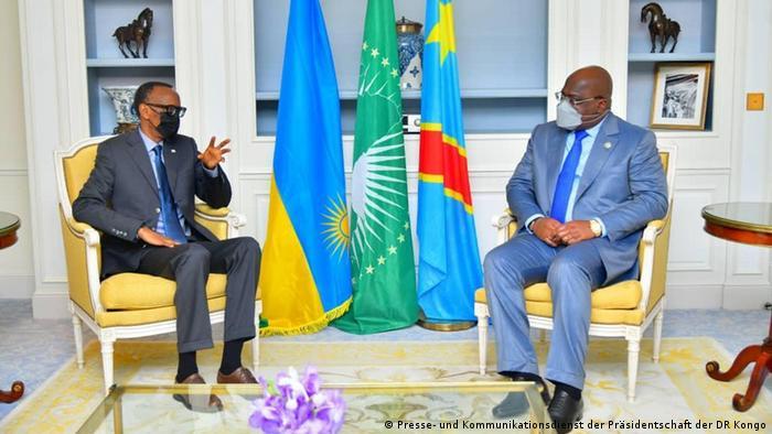 Kushoto: Rais wa Rwanda Paul Kagame. Kulia: Rais wa Jamuhuri ya Kidemokrasia ya Congo Félix Tshisekedi.