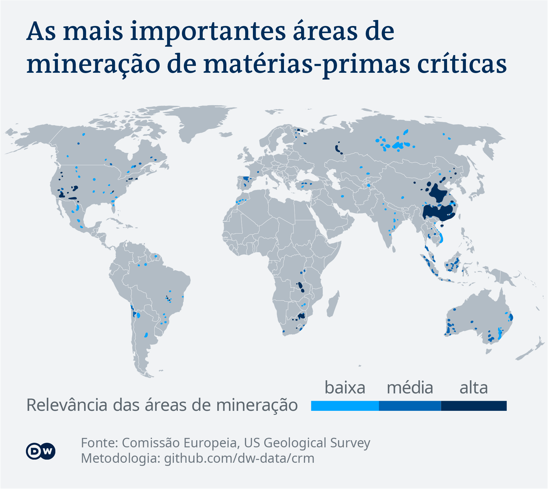 Data visualization: The most important mining areas of critical raw materials - Portuguese (Brazil)