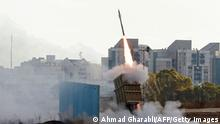 Israel's Iron Dome aerial defence system is launched to intercept a rocket launched from the Gaza Strip, above the southern Israeli city of Ashdod, on May 17, 2021. (Photo by ahmad gharabli / AFP) (Photo by AHMAD GHARABLI/AFP via Getty Images)