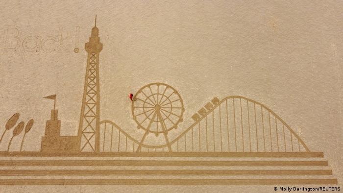 Back - stoji u gornjem lijevom uglu ovog gigantskog umjetničkog djela. Plaža Bekpul u Velikoj Britaniji je ponovo otvorena. A za ovaj trenutak se poprilično dotjerala!