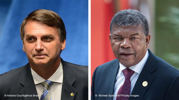 Bildkombo Brasilien Präsident Jair Bolsonaro Angola Präsident Joao Manuel Lourenco