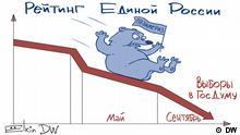 Karikatur 'Elkin | Popularität der russischen Regierungspartei Vereintes Russland sinkt im Vorfeld der Duma-Wahl