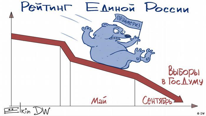 Медведь Единой России скатывается вниз по рейтингу популярности к выборам в Госдуму - карикатура Сергея Елкина