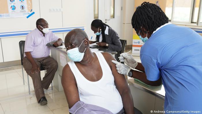 A coronavirus vaccination station in South Sudan