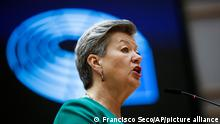 European Commissioner for Home Affairs Ylva Johansson speaks during a plenary debate on European policy on migrants at the Mediterranean sea at the European Parliament in Brussels, Tuesday, May 18, 2021. (AP Photo/Francisco Seco, Pool)
