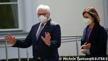 Germany's President Frank-Walter Steinmeier gestures as he speaks to Moldova's President Maia Sandu at Bellevue Palace, in Berlin, Germany, May 19, 2021. REUTERS/Michele Tantussi