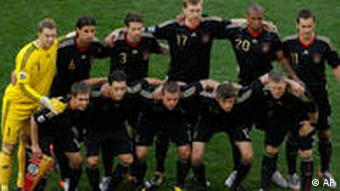 the Germany team pose for pictures prior to the World Cup quarterfinal soccer match between Argentina and Germany at the Green Point stadium in Cape Town, South Africa, Saturday, July 3, 2010.