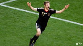 Thomas Müller celebrates a goal against Argentina in the 2010 World Cup quarterfinal