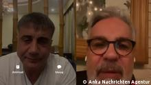 Türkei   Mafiaboss Sedat Peker (li) und Journalist Hadi Özisik (re mit Brille)