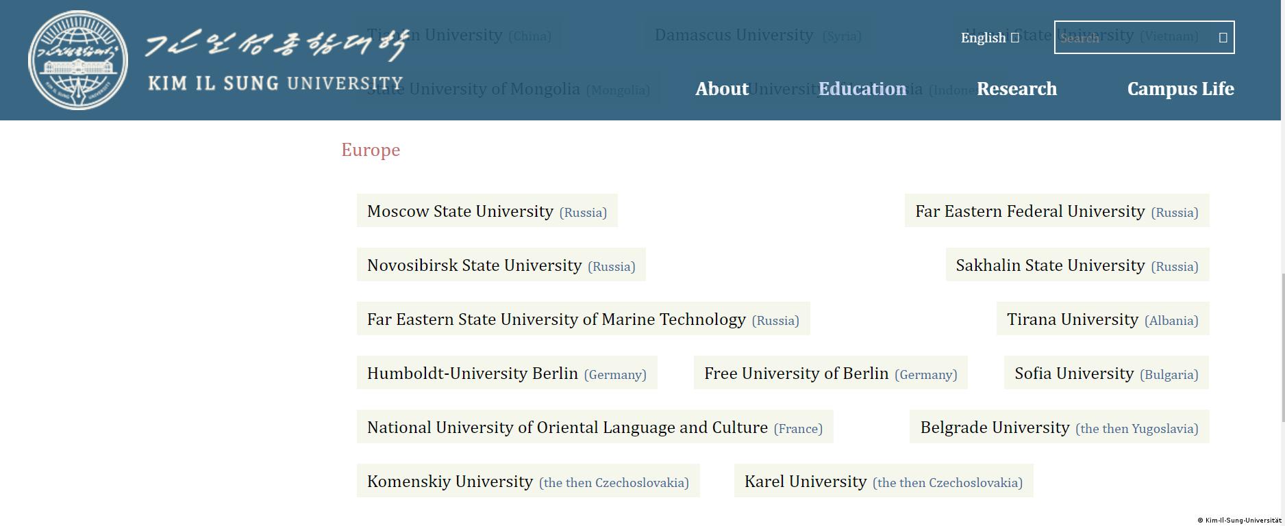 Nordkorea Kim-Il-Sung-Universität, Screenshot der befreundeten Unis aus Europa
