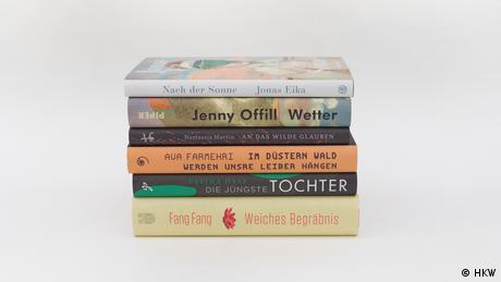 A pile of six books, the titles nominated for the International Literature Prize.