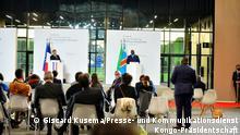 Pressekonferenz des kongolesischen Präsidenten Félix Tshisekedi am 18. Mai 2021 in Paris während des internationalen Gipfeltreffens zur Finanzierung der afrikanischen Wirtschaft