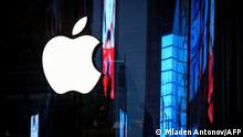The Apple logo is seen on the window of the newly opened company store in Bangkok on September 23, 2020. (Photo by Mladen ANTONOV / AFP)